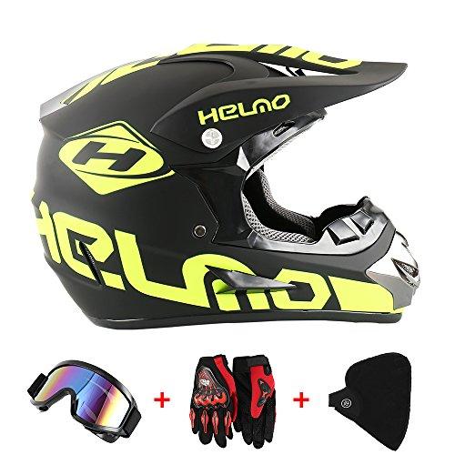 Motorradhelm Cross Helme Schutzhelm Motocross Helm für Motorrad Crossbike Off Road Enduro Sport mit Handschuhe Sturmmaske und Brille 58-59CM (Gelb Fluoreszenz)