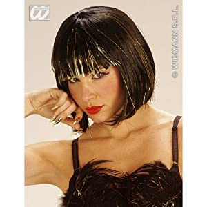 WIDMANN Black cool wig with gold tinsel (peluca)