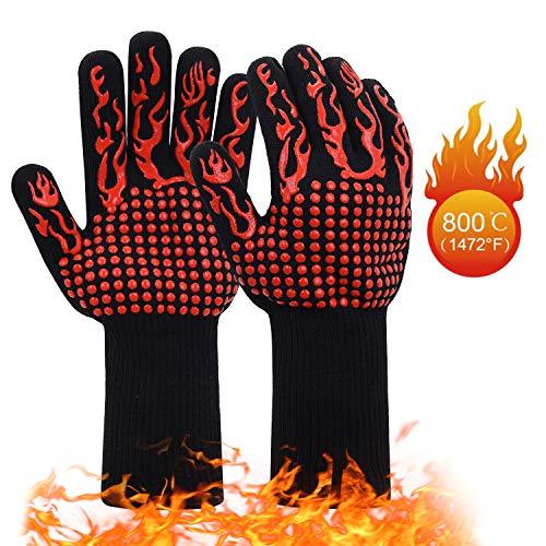 JSDing Guantes de Barbacoa Resistentes al Calor 800 ° C/1472 ° F | Guantes de Cocina Horno 1 Par |...