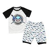 DIASTR 2 Stücke Kleinkind Baby Mädchen Jungen Cartoon Shark Tops T-Shirt Shorts Pyjamas...
