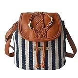 NIYATREE Damen Mädchen Vintage Canvas PU Leder Mini Bucket Bag Barrel Bag Eimer Tasche Schultertasche Umhängetasche Handtasche Wandertasche Crossbody Bag 21*15*20 cm - Navy Stil Streifen