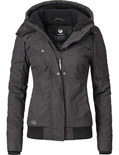 Ragwear Damen Jacke Winterjacke Ewok (vegan hergestellt) Schwarz Gr. S (Warme Down Kurze Coat)