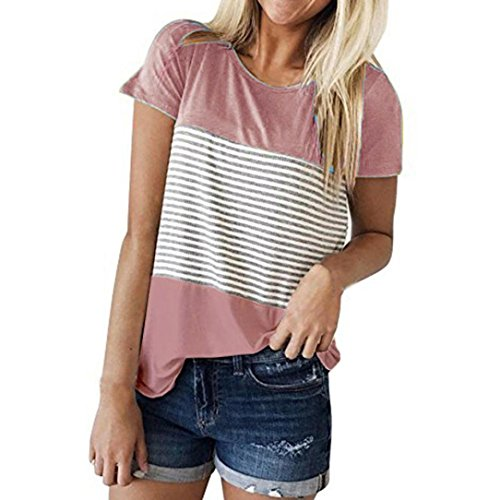 iHENGH Damen T-Shirt, Frauen Sommer Kurzarm Triple Color Block Stripe Tank Tops Casual Bluse (Block T-shirt Lager)