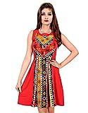 La Attire Red Crepe Printed dress for wo...