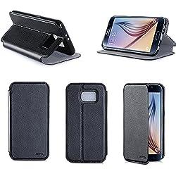 Etui luxe Samsung Galaxy S6 4G noir Ultra Slim Cuir Style avec stand - Housse coque de protection Samsung Galaxy S6 noire - Prix découverte accessoires pochette XEPTIO case !