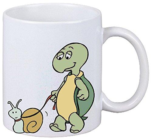 Reifen-Markt Kaffeetasse Motiv Nr. 12873 Schildkröte und Schnecke Cartoon Spass Fun Kult Film Serie...