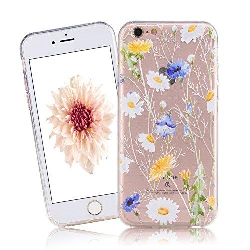 Cover iPhone 6, CaseLover iPhone 6S 4.7 Pollici Cover Custodia Trasparente Rigida Flexible TPU Gel Silicone Ultra Sottile non è Facile Sbiadito Prevenire Graffi Disegno Bella Modello per Apple iPhone  fiore bianco