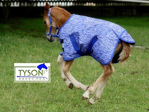 Tysons Breeches  1200 D Fohlendecke 55 65 cm Kaltblut Warmblut Blau o Pink Fohlen Regendecke extra Brustlatz NUR Klett !!! (55 cm, Blau)