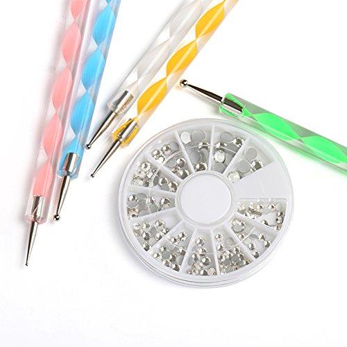 Naler Nail Art Dotting Tools Spot Swirl Doppelseitig Stifte in 5 Farben mit Nägel Glitzersteine Strassstein (Verschiedene Größen)