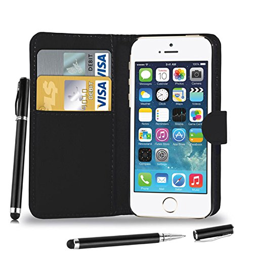 Apple iPhone 7 Plus - Leder Etui Tasche Hülle Cover Buch + 2-in-1 Stylus Pen + Touch Screen Protector & Poliertuch ( Schwarz ) Black