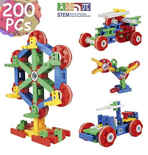 TechMagnet Building Blocks, STEM Kids Educational Construction Toys, Preschool Building Bricks, Engineering Construction Toys Set | Learning Construction Toys, 200 Pieces With Storage Box for kids 3+