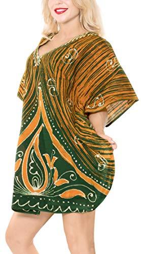 LA LEELA 100% Pur Coton Batik Soir Blouse Nuit Robe Courte Caftan Caftan