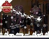 heekpek Noël Autocollants Fenetre Amovibles Décoration Stickers Muraux pour Fenêtres Home Decor