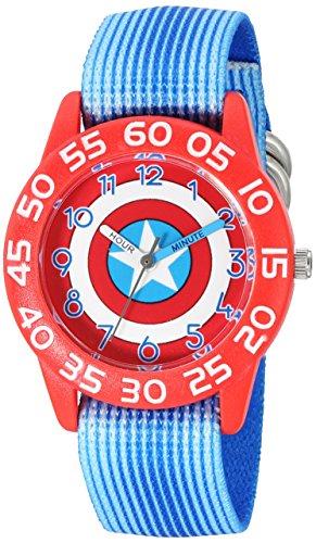 Marvel Boy 's 'Captain America' Quarz Plastik und Nylon Automatik Uhr, Farbe: Blau (Modell: w003216)