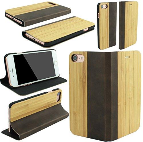 Iphone 8 Plus Schutzhülle aus Echtholz Echtleder inkl. Panzerglas 9H Luxuscase Book Etui Flipcase Hülle Case Cover Wood Braun Brown braun holz geriffelt
