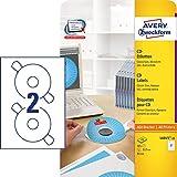 AVERY Zweckform L6015-25 CD-Etiketten inkl. Zentrierhilfe (117 mm, 25 Blatt/50 Etiketten) weiß