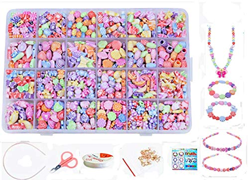 Jewellery Making Kit- Beads Set for Kids Adults Children Craft DIY Necklace Bracelets Letter Alphabet Colorful Acrylic Crafting Beads Kit Box with Accessories (color 3#) -
