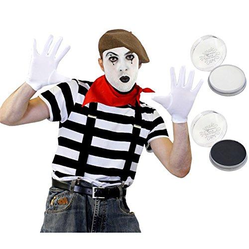 ILOVEFANCYDRESS Pantomime Mime Clown KOSTÜM VERKLEIDUNGS Set+BEIGE Beret=STRASSENKÜNSTLER= BEINHALTET-T-Shirt+ Beret/Hut+Halstuch+Make UP+Schwarze HOSENTRÄGER+Weisse Handschuhe=MEDIUM