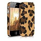 kwmobile Coque Apple iPhone 4 / 4S - Étui Rigide Simili Cuir pour Téléphone Portable Apple iPhone 4 / 4S - Marron-Noir-Marron Clair
