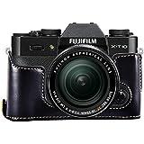 First2savvv XJPT-XT10-D01 negro Funda Cámara cuero de la PU cámara digital bolsa caso cubierta para Fuji Fujifilm X-T10 XT10