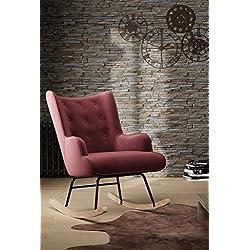 zons Fauteuil à bascule rocking-chair ROSE en Velours avec pieds en bois et métal Canapés, 1