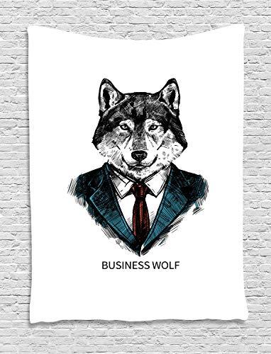 ABAKUHAUS Wolf Wandteppich, Business-Tier im Anzug, Wohnzimmer Schlafzimmer Heim Seidiges Satin Wandteppich, 150 x 200 cm, Zinnoberrot Schwarz Teal