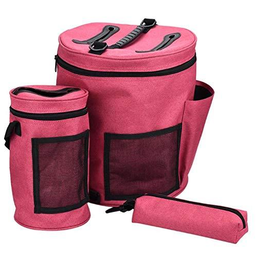 3 pezzi anti avvolgimento grovigli doppia cerniera portatile borsa filato, con tracolla per maglieria lana titolare archiviazione aghi uncinetto organizzatore