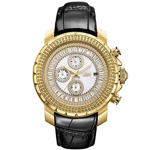 JBW Hombres del Reloj de Diamond con Cristales de Swarovski Oro Negro