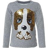 BEZLIT Mädchen Kinder Pullover Pulli Wende Pailletten Sweatshirt 21549, Farbe:Grau, Größe:146
