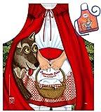 Caperucita Roja y el lobo-Fun Diseño Delantal-con un pequeño mini de delantal como...