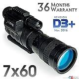 7x60 Rongland NV760 D3+ DISPOSITIVO DI VISIONE NOTTURNA DIGITALE PROFESSIONALE E TELECAMERA A COLORI (MONOCULARE) - nuovo modello da nov. 2016 con BATTERIE RICARICABILI CON CIRCUITO DI PROTEZIONE - una qualità de immagine equivalente con Gen. 2 - funziona in pieno giorno e di notte - automatico illuminazione IR - Foto e video sulla scheda SD, Uscita video per la TV, computer o sistemi di sorveglianza, treppiede e accessori della guida, Carry Case, Super Ingrandimento 7x60mm - Revisione D3+ immagine