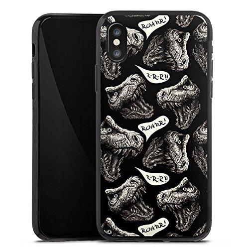 Apple iPhone X Silikon Hülle Case Schutzhülle Dinosaurier Dino T-Rex Silikon Case schwarz