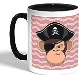 كوب سيراميك للقهوة بتصميم قرد قرصان، اسود
