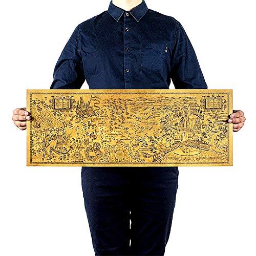 Beito Cartel Retro Harry Potter Magic World Mapa Papel