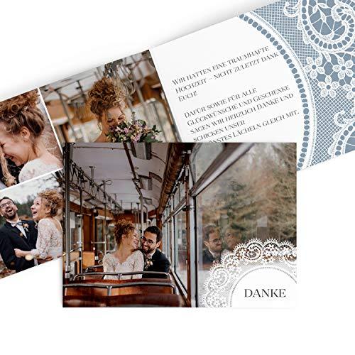 greetinks Hochwertige Dankeskarten zur Hochzeit Boho Spitze in Blaugrau | Inkl. Druck Ihrer Texte und Fotos | Klappkarte | 5 Stück | Hochzeit |Danksagungskarten