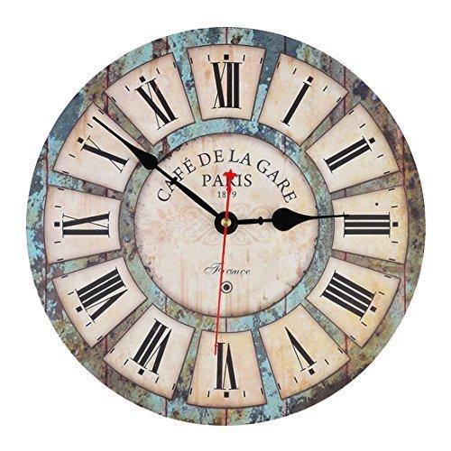 Wanduhr Vintage, iTECHOR 12-Zoll(30cm) Lautlos Vintage Wanduhr Uhr Uhren Wall Clock ohne Tickgeräusche Auflösung Wanduhr