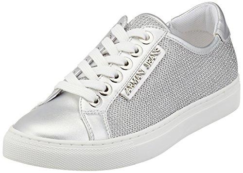 51TpSyGCzpL - Armani Jeans Damen Sneakers, Silber