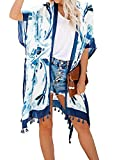 Dearlove Damen Badeanzug Kimono Cardigan mit Bohemian Blumenmuster Gr. OneSize, blau