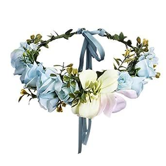 AWAYTR Blumen Stirnband Hochzeit Haarkranz Krone - Frauen Mädchen Blumenkranz Haare für Hochzeit Party(Blau)