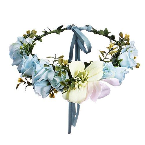 AWAYTR Blumen Stirnband Hochzeit Haarkranz Krone - Frauen Mädchen Blumenkranz Haare für Hochzeit ()