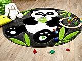Kinder Spiel Teppich Savona Kids Pandabär Grau Grün Rund in 3 Größen