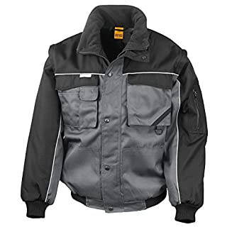 RT71 Workguard Heavy Duty Jacke Arbeitsjacke winddicht wasserabweisend, Farbe:Grey-Black;Größen:L L,Grey-Black