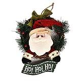 Vosarea Guirnalda de la Puerta de Navidad con Figuras de Santa Claus Adornos de Navidad de Ho Ho Ho Bowknot 29cm