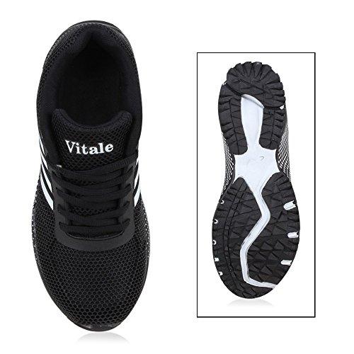 Laufschuhe Schwarz Profilsohle Gepunktet Damen Weiss Schuhe Runners Sneaker UfwnwxATq5