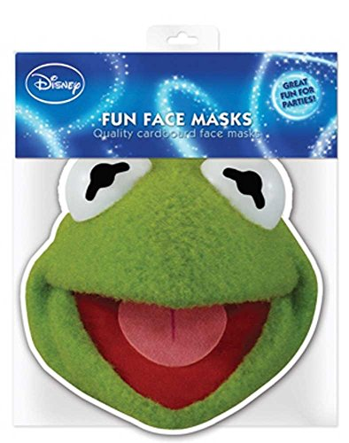 Muppets Kermit - Papp Maske, aus hochwertigem Glanzkarton mit Augenlöchern, Gummiband - Grösse ca. 30x20 cm