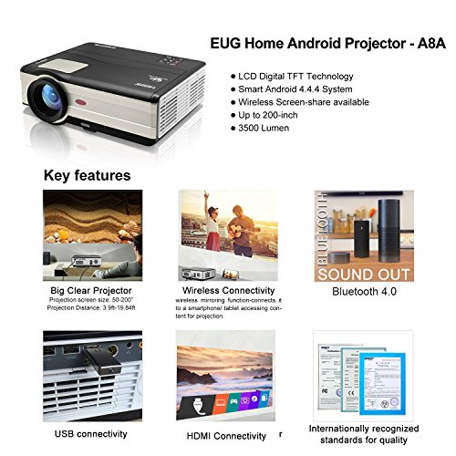 Video Projector Bluetooth WiFi 3500 Lumen 1280x800 LCD Home Cinema Projector HDMI Support 1080P Wireless Beamer for Smartphone Backyard Theater System, Game Consoles, Blu-Ray Player, PC Laptop