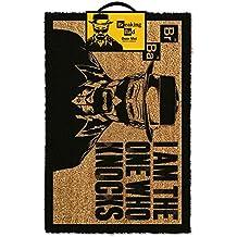 """Felpudo con diseño de Heisenberg de Breaking Bad con mensaje """"I am the one who knocks"""""""