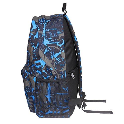 Zaino studenti di nuovo modo luminoso USB interfaccia di Melissa Wizard grigio Blue gray graffiti Blue gray graffiti