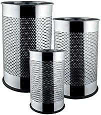 Tulsi King Traders Perforated Bakelite 5L, 7L, 11L Stainless Steel Open Dustbin (7x10-inch, 8x12-inch, 10x14-inch, Silver) - Set of 3