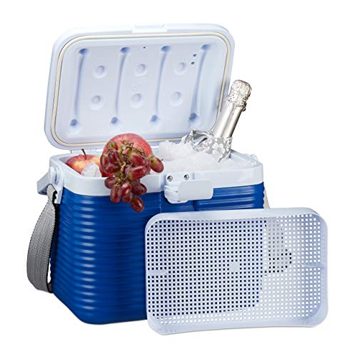 Relaxdays kleine Kühlbox, mit Griff, Tragegurt, Kunststoff Kühltasche, ohne Strom, 8 l, HBT 23,5 x 31 x 21 cm, weiß-blau